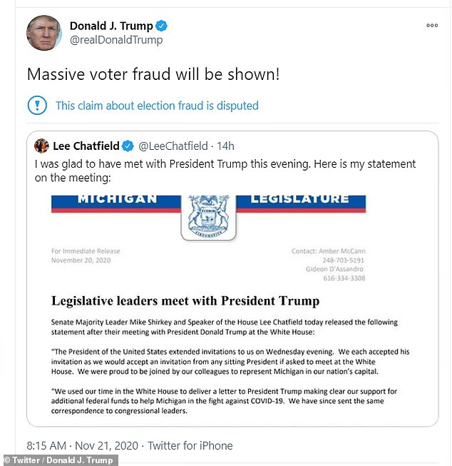 President Trump also tweeted claims of voter fraud in Michigan on Saturday morning