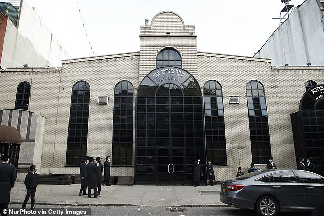 Worshipers of the Congregation Yetev Lev D'Satmar synagogue in Williamsburg