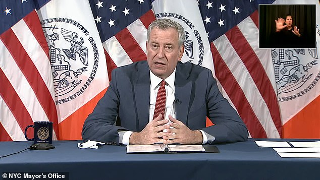 News of the wedding comes as Mayor de Blasio warned on Friday that the whole of New York City could become an orange zone from the first week of December