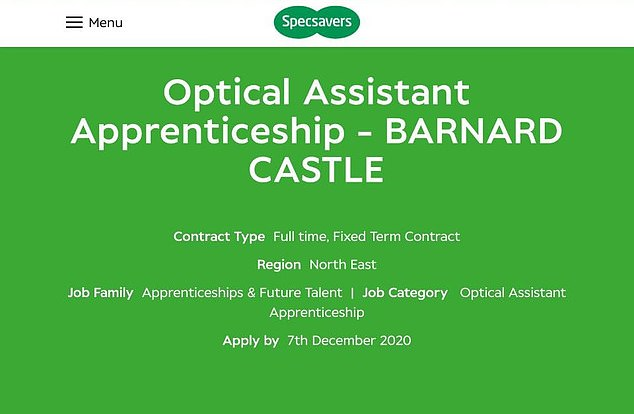 According to the advert, left, the successful applicant must work weekends and be 'happy to travel' between Barnard Castle and a nearby store