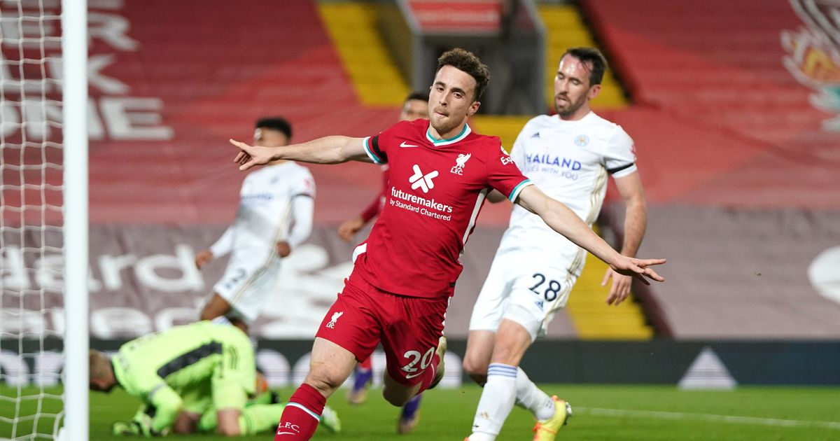 Diogo Jota sets Liverpool record as striker heads home against Leicester