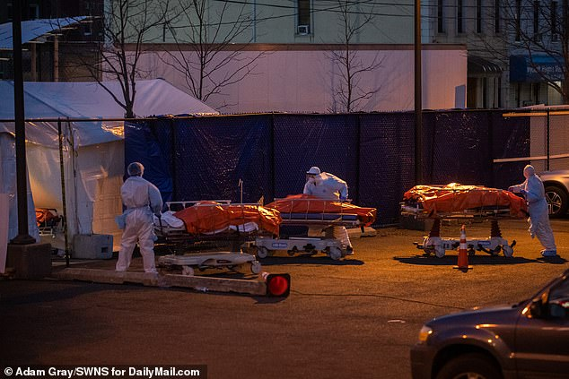 Bodies are moved by medical staff to refrigerator truck morgues under the cover of darkness at Wyckoff Heights Medical Center, Brooklyn, New York