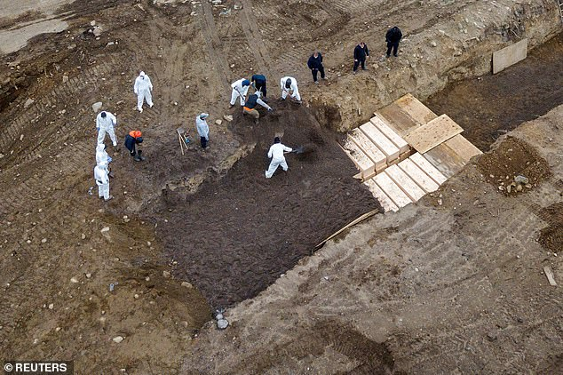 Drone pictures show bodies being buried on New York's Hart Island where the department of corrections is dealing with more burials overall, amid the coronavirus disease
