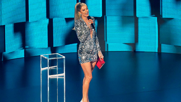 Paris Hilton Sparkles In Plunging Silver Mirror Dress To Present At The AMAs — See Her Look