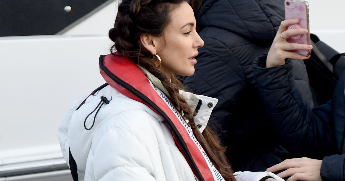 Michelle Keegan wraps up warm filming macabre scene on Brassic set in Wales