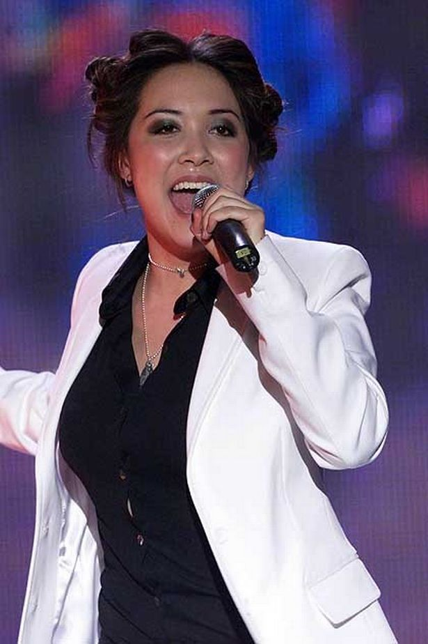 """Feb 2001: Myleene Klass of """"Hear'Say"""" performs on stage at the BRITS in Earls Court."""