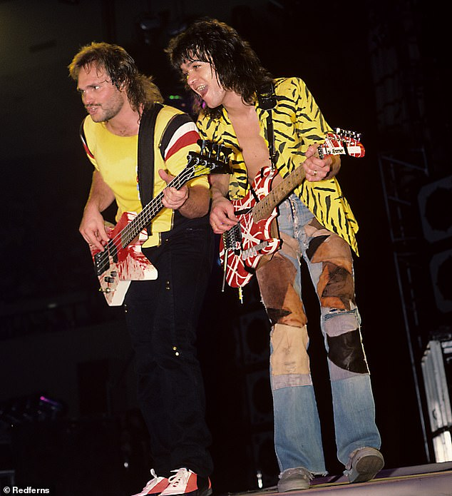 The good old days: The musician is seen performing alongside longtime Van Halen bassist Michael Anthony in 1984