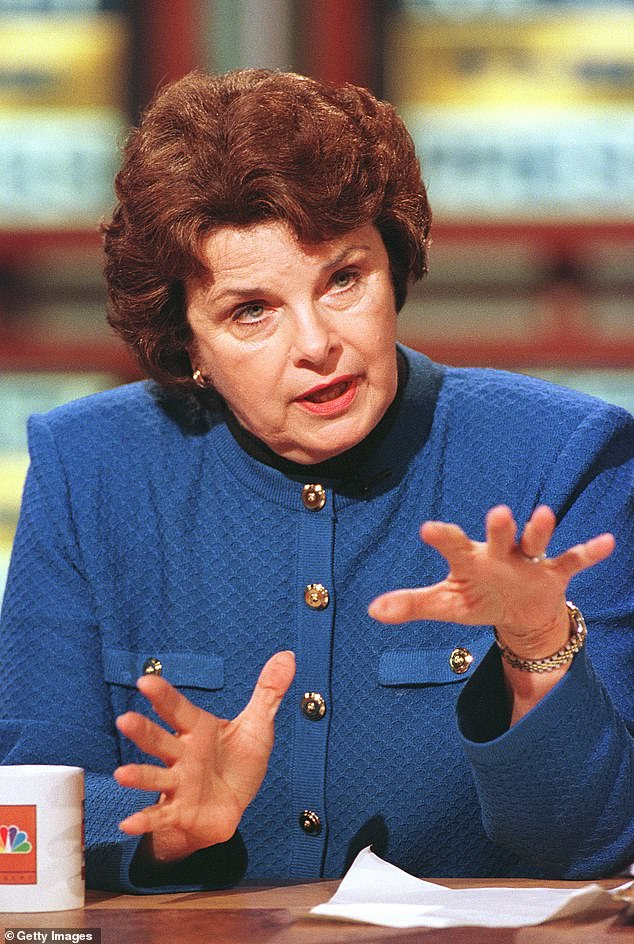 Feinstein, first elected in 1992, has been a powerful force in the Democratic Party and is the former chairwoman of the intelligence panel. She is pictured in April 2000 on Meet The Press