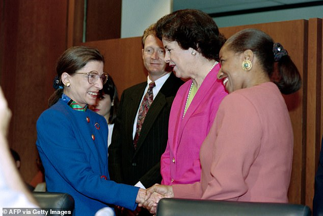 Some Democrats feltFeinstein did not fight hard enough for the seat formerly held by Justice Ruth Bader Ginsburg, the late liberal icon, pictured left meeting Feinstein in July 1993