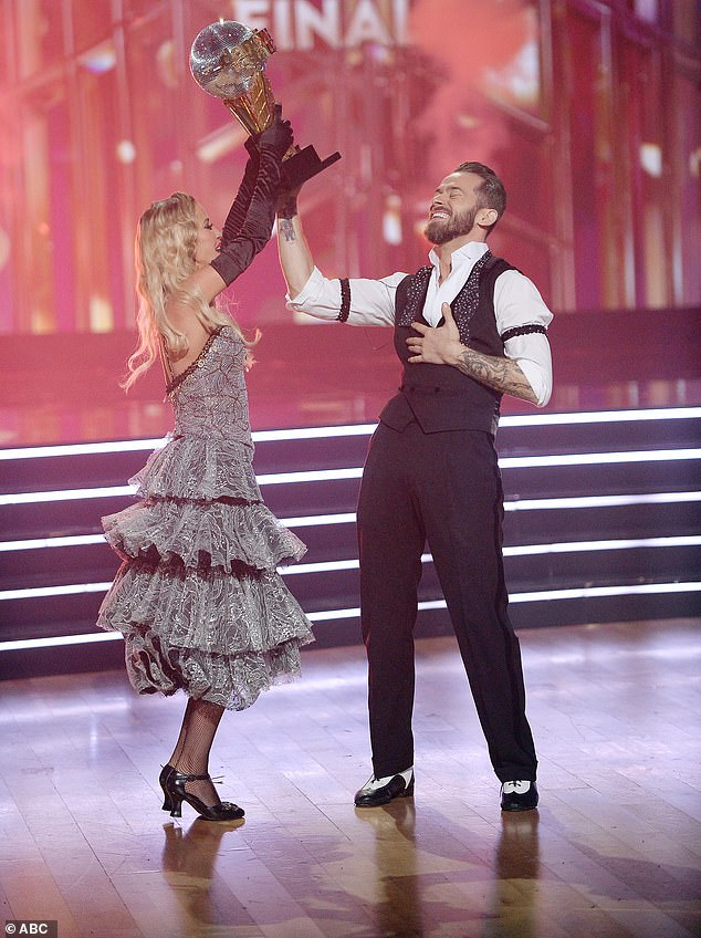 First win:The win was just as big for Artem, who had not been on DWTS last season and said he only found out he wasn't being asked back a few days before filming started