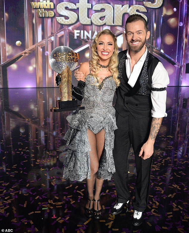 Bachelorette star:When Kaitlyn and Artem's names were read, the room exploded and confetti rained down, as the season 29 winners literally jumped for joy