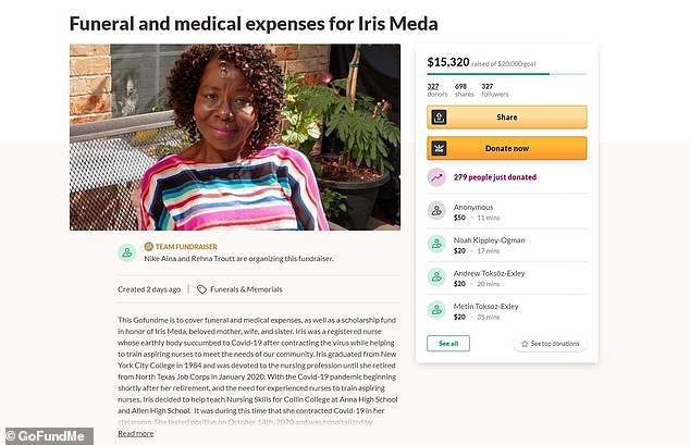 The GoFundMe has raised more than $15,000 for Meda's family