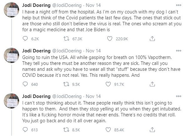 Doering's appearance on New Day came just two days after she penned a thread of tweets, lifting the lid on the apparent COVID-denial among a number of her sickest patients