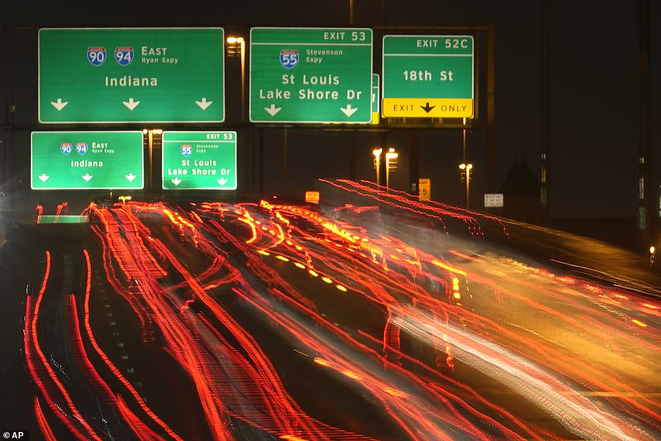 CHICAGO: Motorists travel south Tuesday along Interstates 90 and 94 ahead of the Thanksgiving holiday