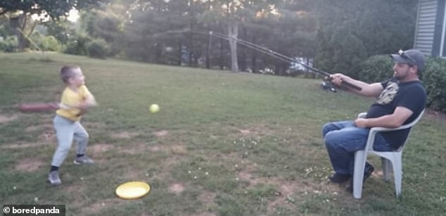 One clever father, believed to be in the US, revealed he has started using a fishing rod to help his son with baseball practice