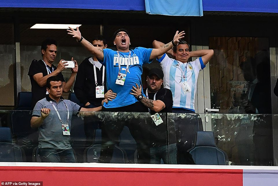 Maradona pictured at the 2018 World Cup, where he watched Argentina from executive boxes