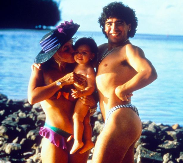 Maradona with ex-wife Claudia and their daughter Dalma who begged him to get clean