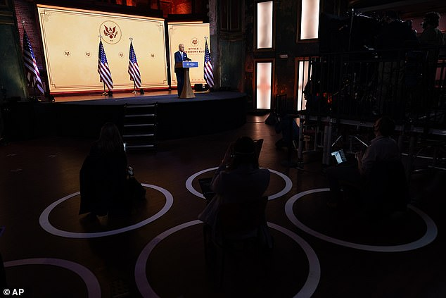 President-elect Joe Biden spoke Wednesday at the Queen theater in Wilmington with socially distanced reporters as his main audience members