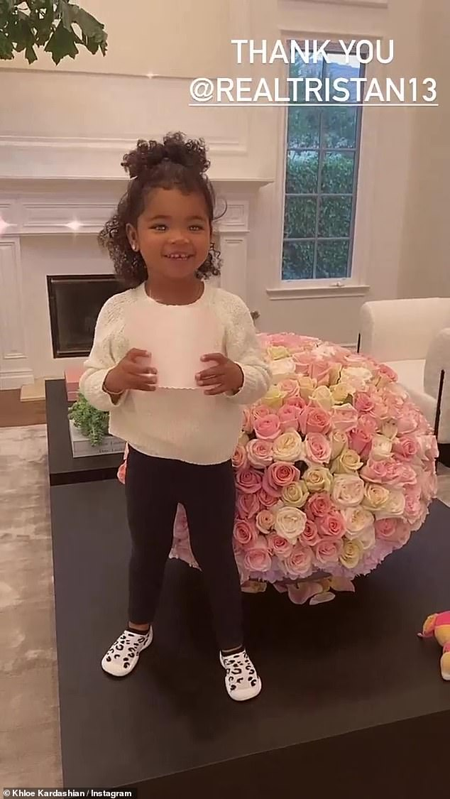 Floral arrangement: Khloe recently took home the People's Choice Award for Reality TV Star of 2020 during the annual fan-voted ceremony earlier this month