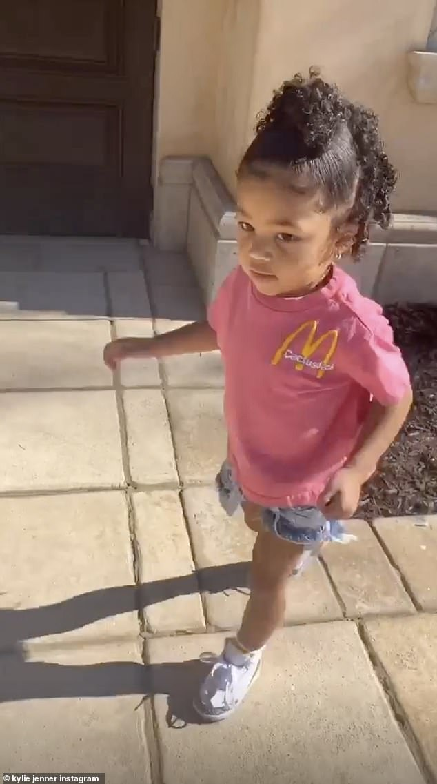 Her little girl: Kylie also shared on Instagram Stories a video of daughter Stormi Webster, whose father is Travis Scott, wearing a McDonald's T-shirt in pink