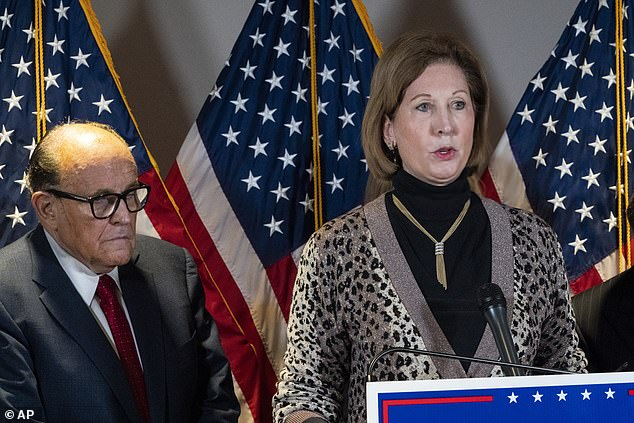 Sidney Powell has founded a 'legal defense fund' to cash in on her new-found fame, DailyMail.com can reveal. She's seen speaking next to former Mayor of New York Rudy Giuliani, as members of President Donald Trump's legal team, during a news conference at the Republican National Committee headquarters, Thursday November 19, 2020