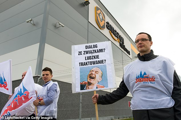 Internal documents allegedly showed how Amazon analysts kept tabs on how many warehouse workers attended union meetings and specific grievances they shared about their work conditions. Pictured: Amazon workers protest outside a warehouse in Wroclaw, Poland