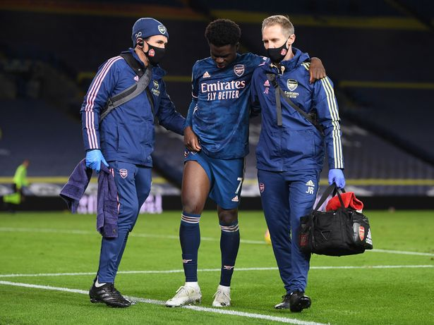 Saka limped off injured not long after coming on as a sub on Sunday