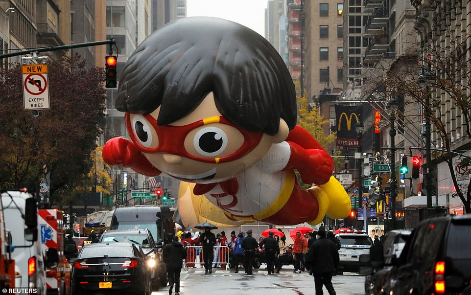 A new balloon of Red Titan, a character from 'Ryan's World', featured in the third day of filming