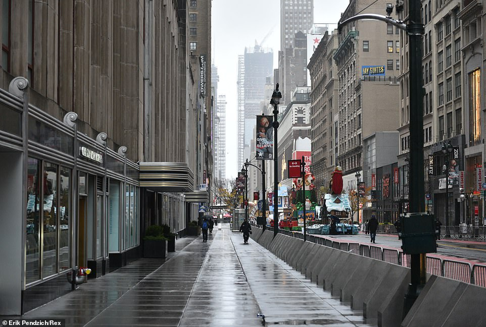 Empty Manhattan streets where hundreds of thousands would normally gather for the event