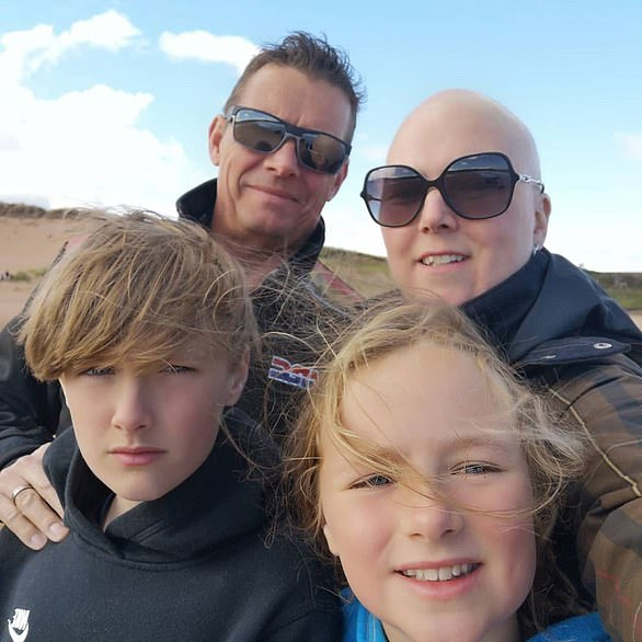 Mother-of-two Beth Purvis's lung cancer (pictured withhusband Richard and children Joseph, 12, and Abigail, 10)spread to her brain after her operation was cancelled