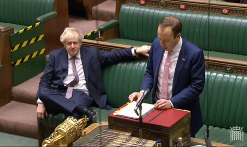 Boris Johnson (left) is out of self-isolation and was in the Commons for the statement by Matt Hancock (right) today. The PM will hold a press conference this evening