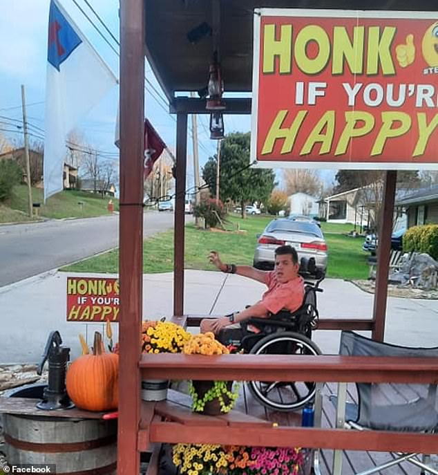 Stitt has become somewhat of a local celebrity in recent years, known for sitting outside his family home surrounded by signs reading 'Honk if you're happy'