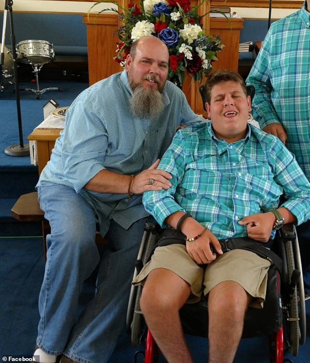Dad Tim Stitt is pictured with 17-year-old son Jake. The father has thanked Justin Timberlake for his life-changing gift