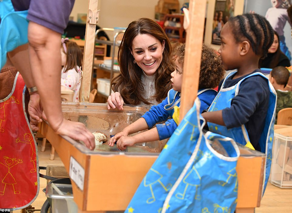 The duchess has made early years development one of the main pillars of her public role since she first became a member of the royal family. Pictured during a visit to London Early Years Foundation Stockwell Gardens Nursery and Pre-school, in south west London in January