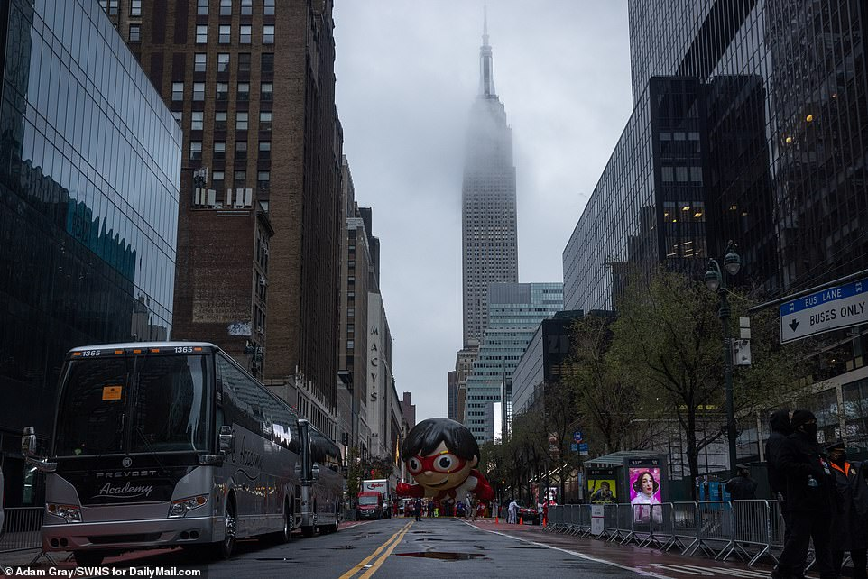 A gloomy New York City on Thanksgiving morning as the parade began at 9am