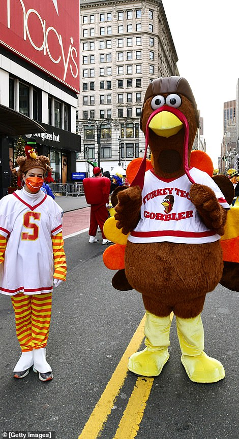 Turkey tech clowns and Turkey character walk in the 94th Annual Macy's Thanksgiving Day Parade