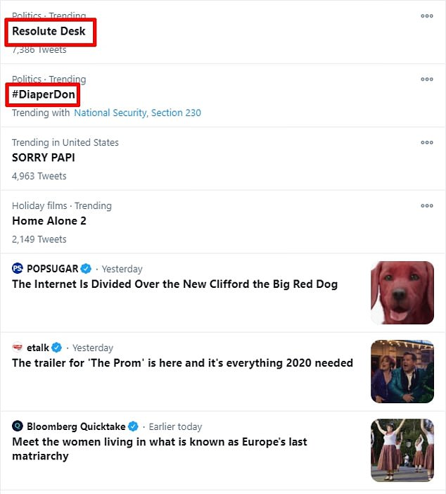Twitter users relentlessly mocked the president for the small desk from which he spoke during his White House news conference. The sight of Trump sitting at the desk prompted Twitter users to trend the topic 'Resolute Desk' - the much larger desk where the president sits in the Oval Office. Another trending topic on Twitter was the hashtag #DiaperDon, a reaction to an image of the president sitting at his smaller desk