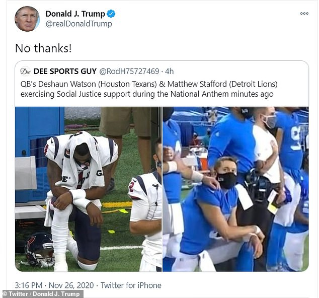 Trump also reacted negatively to a news story about the Texans' Deshaun Watson and the Lions' Matthew Stafford who were seen kneeling on their respective sidelines during the national anthem just before kickoff at Ford Field in Detroit. The Texans won the game 41-25