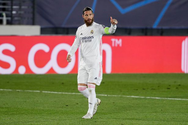 MADRID, SPAIN - NOVEMBER 3: Sergio Ramos of Real Madrid celebrates goal 2-0 during the UEFA Champions League match between Real Madrid v Internazionale at the Alfredo Di Stefano Stadium on November 3, 2020 in Madrid Spain (Photo by David S. Bustamante/Soccrates/Getty Images)