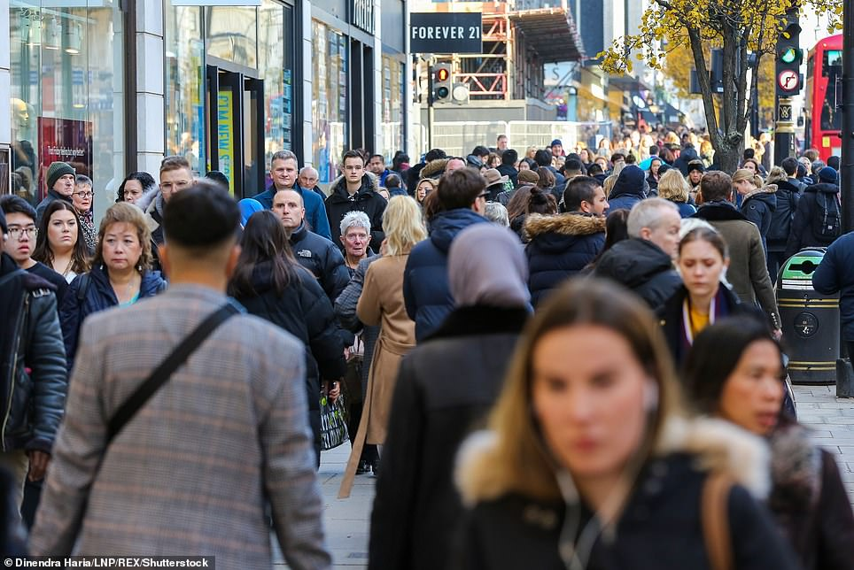 2019 -- Shoppers take advantage of Black Friday deals at stores on Oxford Street in London's West End on November 29, 2019