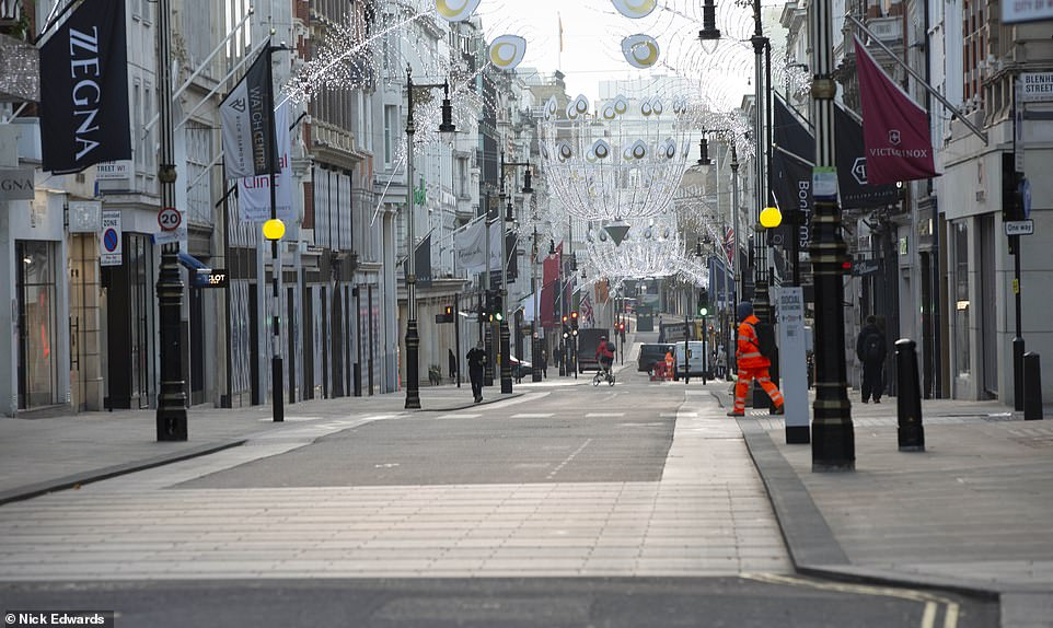 New Bond Street in London is deserted on Black Friday this morning as the country continues through a four-week lockdown