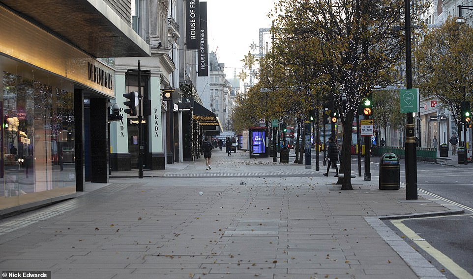 A very quiet Oxford Street in London's West End today as England continues through a four-week lockdown
