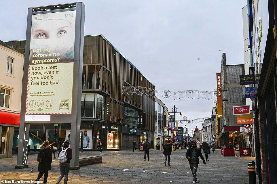 Northumberland Street, Newcastle-upon-Tyne's busiest shopping street, is quiet on Black Friday today due to the lockdown