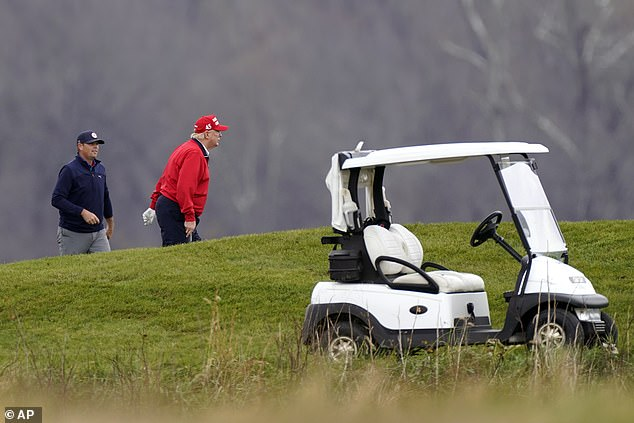 President Donald Trump on his Trump National Golf Course in Sterling, Va., on Friday