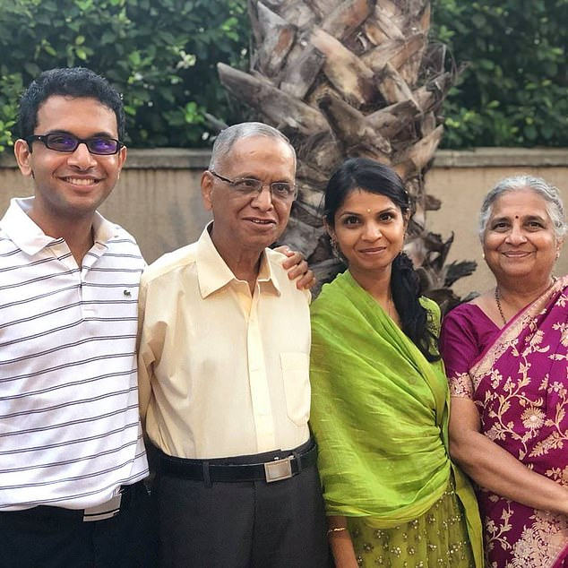 After taking a first in Philosophy, Politics and Economics at Oxford, Southampton-born Sunak travelled on a Fulbright scholarship to Stanford University in California where met his future wife (pictured with her family, second from right)