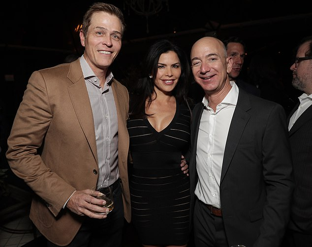 Patrick Whitesell (left) introduced his former wife, Lauren Sanchez (center), to Jeff Bezos in 2016 - three years before Sanchez and Bezos began dating
