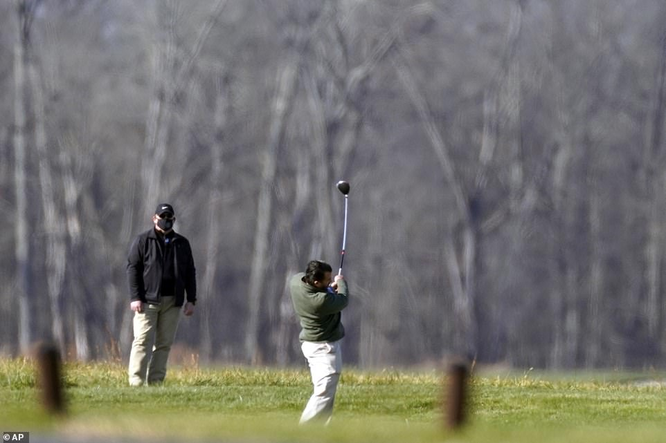 Don Jr. joined his father for a round of gold on Saturday morning despite having just recovered from coronavirus