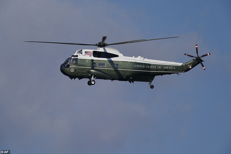 Marine One lands at the Trump National Golf Club in Virginia for the second day in a row