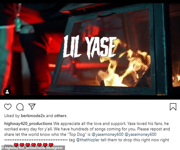 'Appreciate all the love and support':The Instagram account for his label Highway 420 Productions posted in the fallen rapper's honor on Saturday afternoon