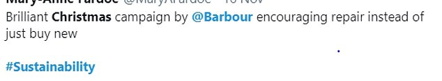 Shoppers have taken to Twitter to praise Barbour's focus on sustainability rather than always buying new (pictured)
